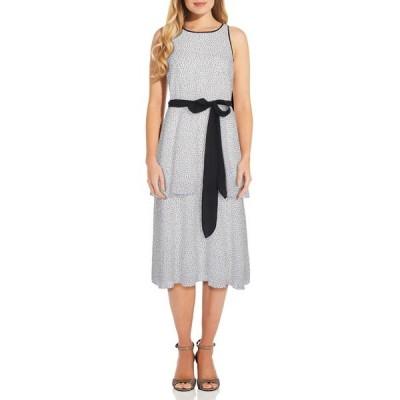 アドリアナ パペル レディース ワンピース トップス Polka Dot Waist Tie Tiered Dress IVORYBLACK