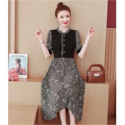 予約商品 大きいサイズ レディース プリント 半袖 ワンピース 幾何学柄 ギャザーオーバーサイズ 韓国ファッション ビッグサイズ otona LL