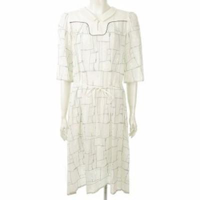 【中古】ミナペルホネン mina perhonen garden patchwork ワンピース 18SS ws3488 刺繍 透け感あり 白 38 レディース