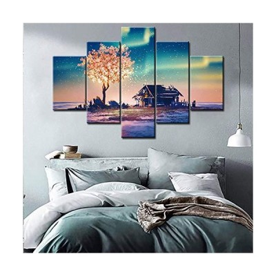 Large 5 Piece Canvas Wall Art for Living Room- Illustration painting- Abandoned House and Fantasy Tree Lights Under Northern Lights - Modern