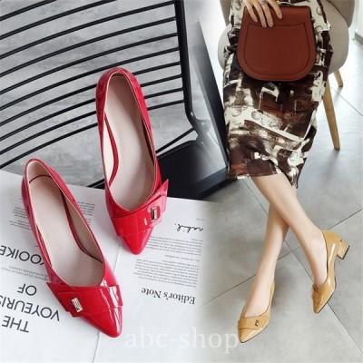 ポインテッドトゥ太めヒールミドルヒールパンプス女フォーマル人気エレガントデイリー歩きやすいおしゃれ就職活動通勤披露宴オフィス