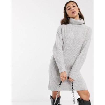 エイソス ASOS DESIGN レディース ワンピース ミニ丈 ワンピース・ドレス chunky mini dress with roll neck グレー