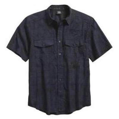 【お取り寄せ】ハーレーダビットソン メンズ Harley-Davidso<wbr/>n Men 3XL Textured Distressed Short Sleeve Woven Shirt, NEW W/TAG