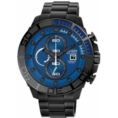 腕時計 シチズン 逆輸入 Citizen #CA0525-50L Men's Eco Drive Black IP Titanium Blue Dial 200M Chronogr