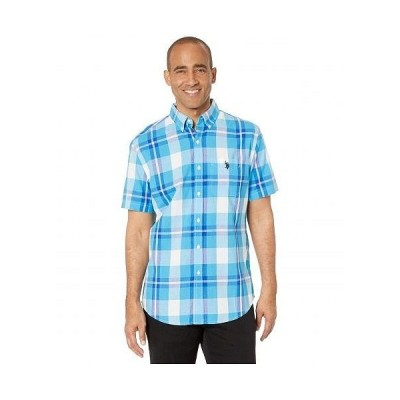 U.S. POLO ASSN. USポロ メンズ 男性用 ファッション ボタンシャツ Short Sleeve Large Plaid Woven - Aquarias Blue