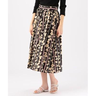 TOMORROWLAND/トゥモローランド forte_forte フラワープリントギャザースカート 18 ブラック系 1