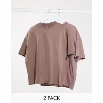 エイソス ASOS DESIGN メンズ Tシャツ 2点セット トップス 2 pack oversized t-shirt マルチカラー