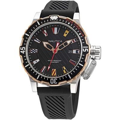 Nautica Men's Stainless Steel Quartz Silicone Strap  Black  22 Casual Watch (Model: NAPGLF003) 並行輸入品