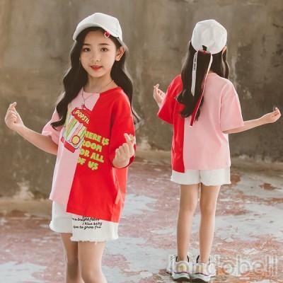 イレギュラー Tシャツ 半袖 ロゴプリント コットン トップス バイカラー ゆったり 子供服 キッズ ガールズ ジュニア服 通学 部屋着 普段着 女の子 可愛い
