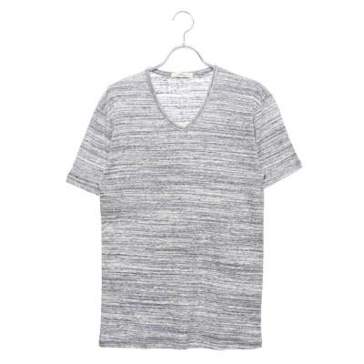 スタイルブロック STYLEBLOCK 引き揃え杢フライスVネック半袖Tシャツカットソー (ネイビー)