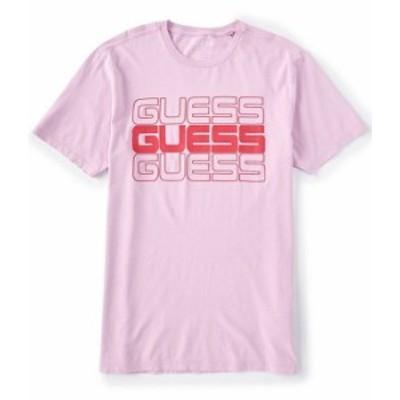 ゲス メンズ シャツ トップス Short-Sleeve Guess Stacked Logo Graphic Tee Pink