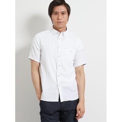 【タカキュー】 フレンチリネン混パナマメッシュ ボタンダウン半袖シャツ メンズ ホワイト LL(XL) TAKA-Q