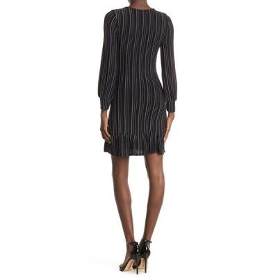 19クーパー レディース ワンピース トップス Stripe Long Sleeve Dress BLACK SILVER