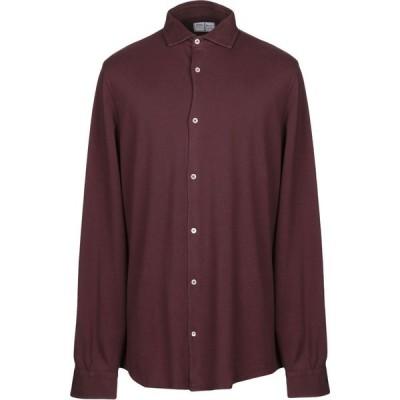 フェデーリ FEDELI メンズ シャツ トップス Solid Color Shirt Maroon