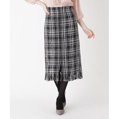 <SOUP L(Women)/スープL>【大きいサイズあり・13号】フロントスリットツィードスカート クロ419【三越伊勢丹/公式】