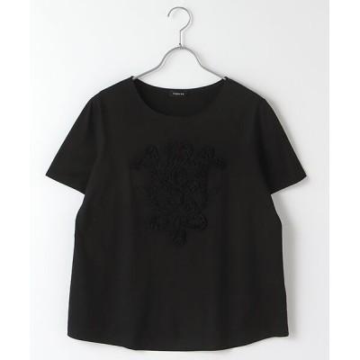 TABASA/タバサ コットン天竺コード&テープ刺繍Tシャツ クロ F
