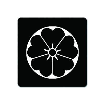 家紋シール 白紋黒地 石持ち地抜き桜 10cm x 10cm KS10-2011W