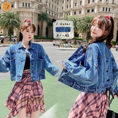 デニム ジャケット レディース 女性 女の子 コート 着回し 2020 長袖 ゆったり カジュアル 秋冬 おしゃれ 20代 30代 40代 韓国風 ファッション 胸ポケット 学生