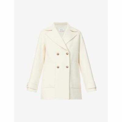 リース REISS レディース コート ダブルブレストコート アウター Amber double-breasted wool-blend coat CREAM