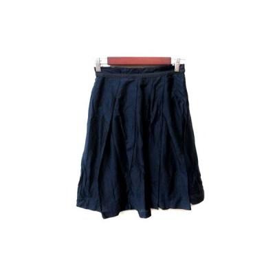 【中古】ロペ ROPE フレアスカート ひざ丈 ギャザー 36 紺 ネイビー /YI レディース 【ベクトル 古着】