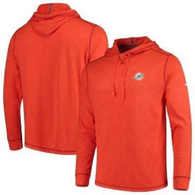 トッミーバハマ メンズ Tシャツ トップス Miami Dolphins Tommy Bahama Bali Coast Hoodie Long Sleeve T-Shirt Orange