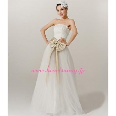 ウェディングドレス スパンコールビスチェ 蝶結び付きシャンペンゴールドベルト オーガンジー E022