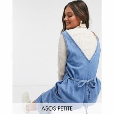 エイソス ASOS Petite レディース オールインワン ジャンプスーツ Vネック デニム ASOS DESIGN Petite soft denim slouchy v neck jumpsu