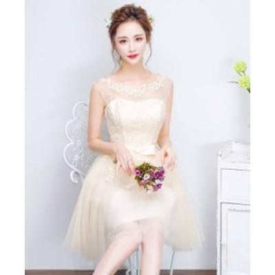 ホワイト ノースリーブ ふんわりレース ミニワンピース ドレス シースルー   花柄刺繍 リボン 綺麗 おしゃれ 可愛い 上品 清楚 デート
