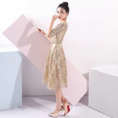 パーティードレス  ワンピースドレス  ゴールド ワンピース ドレス ミディ丈【S-XXLサイズ】