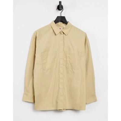 リーバイス レディース シャツ トップス Levi's oversized utility shirt in beige Safari