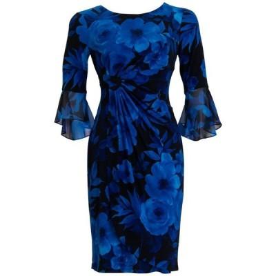 コネクテッド レディース ワンピース トップス Flounce-Sleeve Floral-Print Sheath Dress