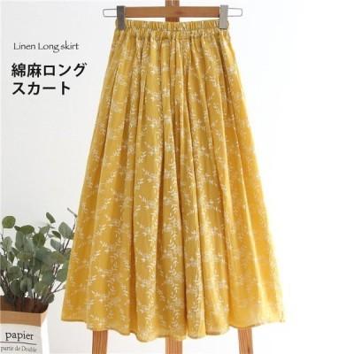 綿麻ロングスカート レディース TKFIRSK16187 リネン 綿麻 きれいめ おしゃれ 花柄 可愛い オフィス ゆったり ロング マキシ カジュアル