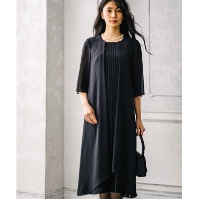 【喪服・礼服】アンサンブル風前開きフロントプリーツ使いワンピース ブラックフォーマル, Funeral Outfit
