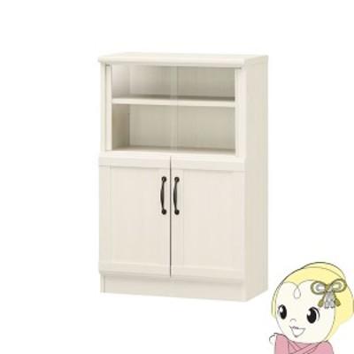 【メーカー直送】 白井産業 チェローネ ミニ 食器棚 キッチン収納 幅55cm ホワイト 白木目 CEN-9055DGA