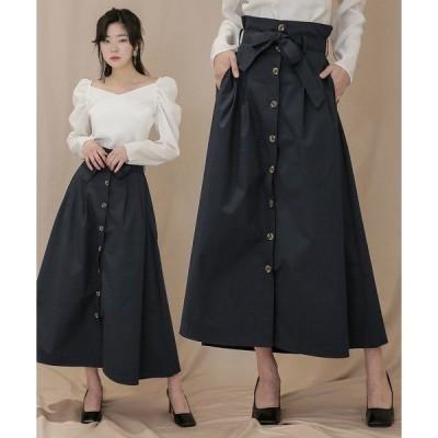 スカート フロントボタンフレアコットンロングスカート