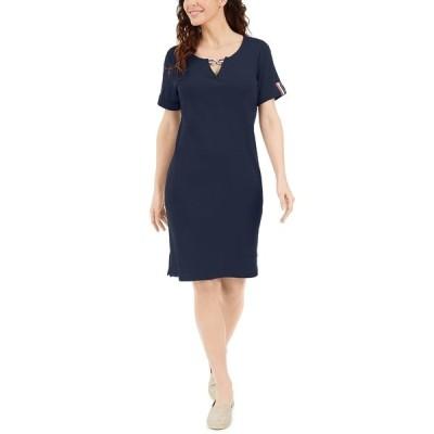 ケレンスコット ワンピース トップス レディース Cotton Keyhole Dress, Created for Macy's Intrepid Blue