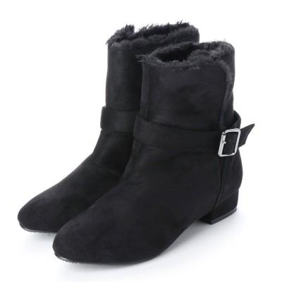 マシュガール masyugirl 【3E/幅広ゆったり・大きいサイズの靴】 セパレートエコファーアーモンドトゥブーツ (ブラックスエード) SOROTTO
