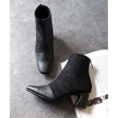 AmiAmi / スクエアトゥ異素材切り替えショートブーツ WOMEN シューズ > ブーツ