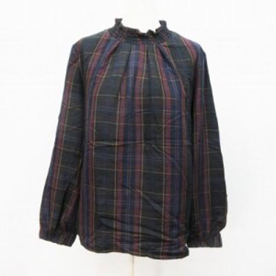 【中古】サルーン saloon シャツ カットソー 長袖 ハイネック チェック 綿 コットン 100% F(M相当) 紺 ネイビー系