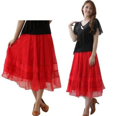 社交ダンス ダンススカート レディース ダンスウェア 衣装 MからLサイズ 赤