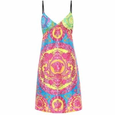 ヴェルサーチ Versace レディース ワンピース ワンピース・ドレス Printed silk minidress Turquoise/Print