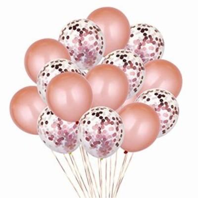 Josopa バルーン 吹雪入れ風船 結婚式 誕生日 パーティー 25点セット おしゃれ ピンクゴールド フォトプロップス プロポーズ 記念日 お祝