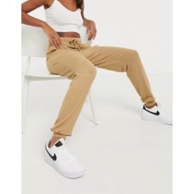 エイソス レディース カジュアルパンツ ボトムス ASOS DESIGN supersoft sweatpants with metal tie ends in camel Sand