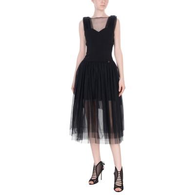 MANGANO 7分丈ワンピース・ドレス ブラック 44 98% ポリエステル 2% ポリウレタン 7分丈ワンピース・ドレス