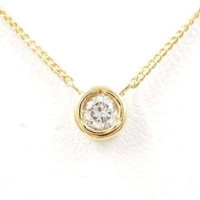 K18 18金 YG イエローゴールド ネックレス ダイヤ 0.1 総重量約1.9g 中古ジュエリー