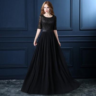 パーティードレス 結婚式 ドレス ロング丈 フォーマル レース ワンピース 結婚式ドレス 大きいサイズ ブラック 披露宴 party dress 大きいサイズda026s1s1q2