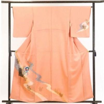 【中古】リサイクル着物 訪問着 / 正絹ピンクオレンジ地縫締め絞り袷訪問着着物 / レディース【裄Mサイズ】身丈160cm 裄65cm 前幅26.5c