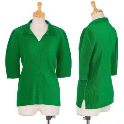 プリーツプリーズPLEATS PLEASE プリーツポロシャツ 緑3 【レディース】