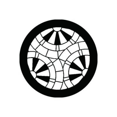家紋シール 白紋黒地 三つ割り重ね源氏車 布タイプ 直径40mm 6枚セット NS4-1364W