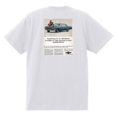 アドバタイジング シボレー インパラ 1965 Tシャツ 040 白 アメ車 ホットロッド ローライダー広告 ベルエア カプリス